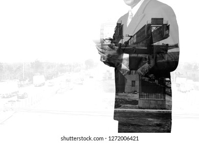 Double Exposure of Businessman Use Wireless Mobile Smartphone with Highway construction site Project or Building as Business Technology Working on the go concept.