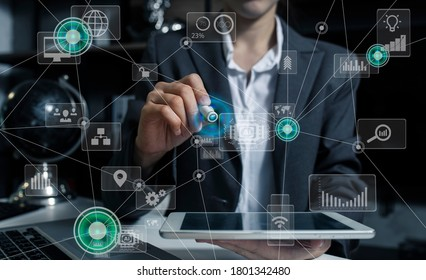 Double exposure of businessman using growing global network and data connections, Technology Process System Business concept, Background toned image blurred.