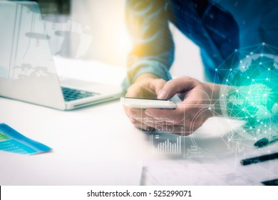 Double exposure of businessman using smart phone and connection network and business concept, copy space, mock up.