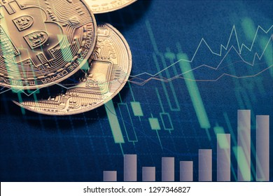 Double exposure of businessman using the tablet with Bitcoin exchange of trading screen on Closeup Bitcoins mockup on the money paper bank of various country, cryptocurrency and  investment
