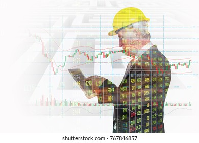 Double Exposure of Businessman  Wireless Digital Tablet Application connect with Candlestick Bar graph Show Stock Market price Data and Labyrinth or Maze Background as Business Technology App Concept