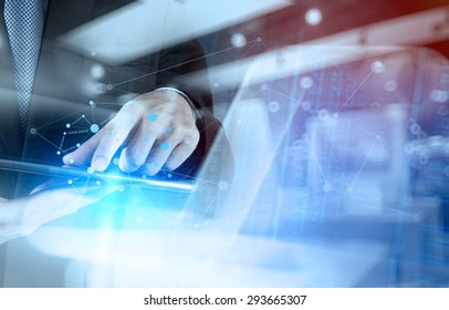 Double exposure of businessman working with new modern computer show social network structure and bokeh exposure