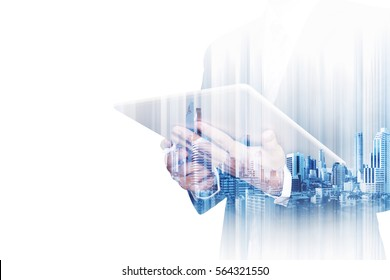 Double exposure businessman working on digital tablet with modern buildings, isolated on white background