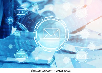double exposure businessman writes business plan and email networking concept