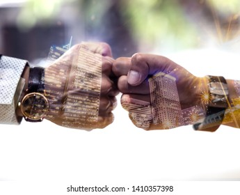 Double exposure Businessmen trust commitment as  support which Business Partners holding hands relationship marketing for reach successful achievement and meeting commit concept