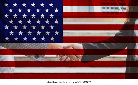 double exposure of businesswomen check hand and USA flag - can use to display or montage on product or concept of independent day of USA