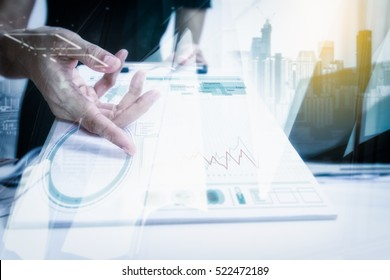 Double exposure of Businesswomen giving pen for your signature on clipboard copy space, business or financial content, mock up.