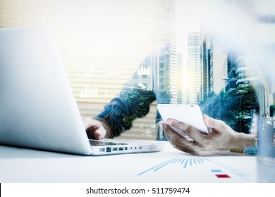 Double exposure of businesswomen using smart phone with blur city day or night and network connection for business concept, film effect.