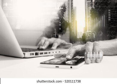 Double exposure of businesswomen using smart phone with blur city day and night and connection network and business concept, copy space, mock up.