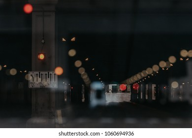 Double Exposure of Busy City