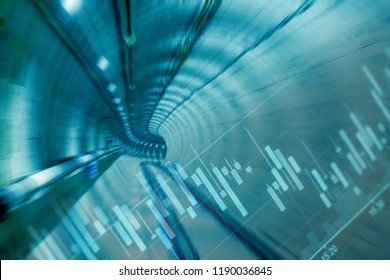 Double exposure of candlestick chart pattern for analyze stocks trading and the scene of inside the railway tunnel for financial and construction concept