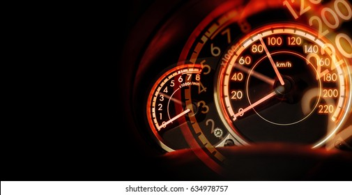 double exposure Car dashboard speedometer, speed concept, no limit concept, with space for text