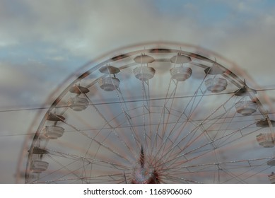 Double Exposure of Carnival and Fair Rides