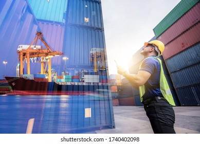 Double exposure, Caucasian man engineer using digital tablet and wearing yellow safety helmet and check for control loading containers box from Cargo freight ship for import and export, transport.