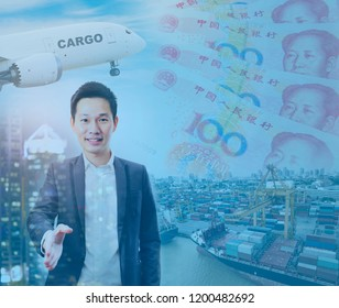 Double exposure of Chinese businessman handshake with global investment market