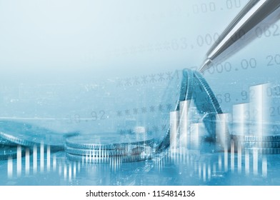 Double exposure of city, coins, bank account with stock market chart financial graph interface, business finance and banking, money saving, risk management concept, copy space for financial background