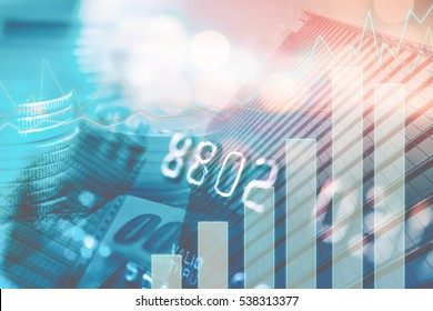 Double exposure of city, credit card , graph and money for finance and business concept