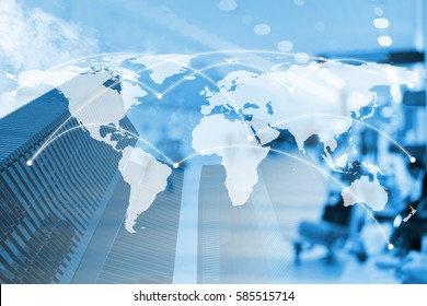 Double exposure city and global business network connection with dollar and trading graph. Elements of this image furnished by NASA - Shutterstock ID 585515714