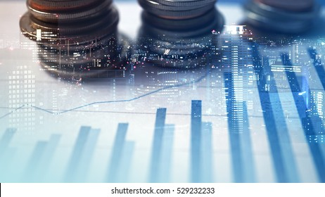 Double exposure of city and graph , money for finance and business concept