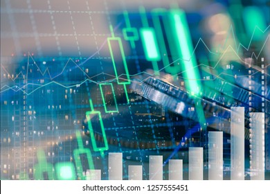 Double exposure of city night and stack of coins for finance investor, investment and banking concept , Forex trading candlestick chart