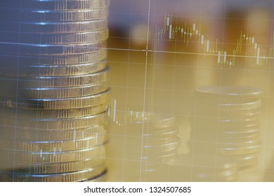 Double exposure of city night and stack of coins for finance investor, investment and banking concept , Forex trading candlestick chart, Digital economy.