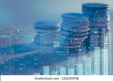 Double exposure of city night and stack of coins for finance investor, investment and banking concept , Forex trading candlestick chart, Digital economy