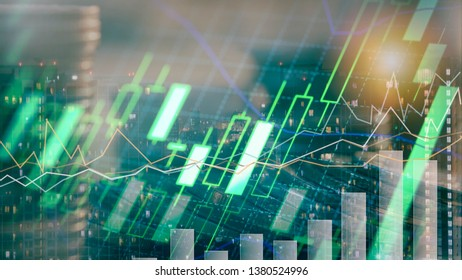 Double exposure of city night and stack of coins for finance investor, investment and banking concept , Forex trading candlestick chart , ECN digital economy