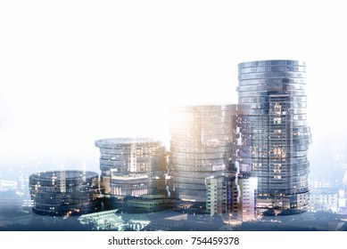 Double exposure of city night and stack of coins for finance, investment and banking concept