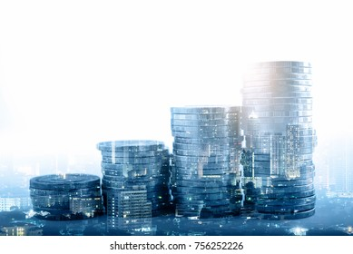 Double exposure of city night and stack of coins for finance investor, investment and banking concept