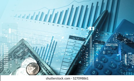 Double exposure of city and pen, calculator , money , graph for finance and business concept - Shutterstock ID 527098861
