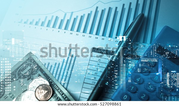 Double exposure of city and pen, calculator , money , graph for finance and business concept