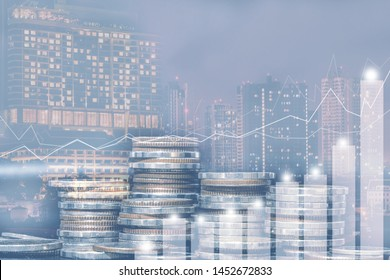 Double exposure of city and rows of coins for money, finance and business concept of teamwork and partnership. ECN Digital economy, best.