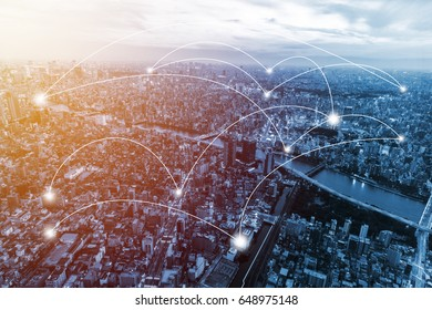 double exposure city scape and network connection and trading graph . Concept for new global business. Blockchain connect