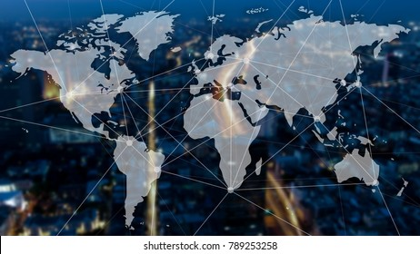 Double exposure of city scape, worldmap and connecting dots. Globalization and corporate communication concept.