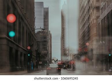 Double Exposure of City Street