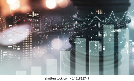 Double exposure of city view , diagram bar and line graph , rows of coins for finance , money , investment and business concept background