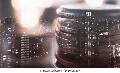 Double exposure of city view and rows of coins for finance , money , investment and business concept background