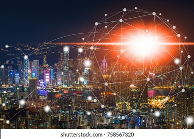 Double exposure of cityscape and business technology graphic design background with network connection technology concept on aerial view of cityscape business district background.