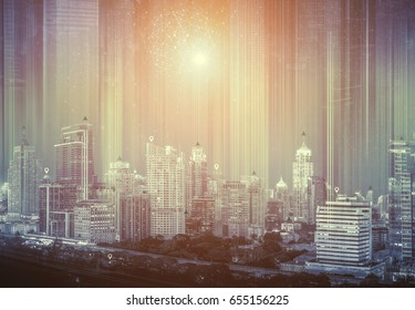 Double exposure of cityscape with connectivity technology icons. Smart connection city concept.