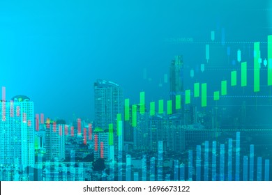 double exposure cityscape view and candlestick with fibonacci indicator graph on green background color concept, financial chart or business growth graph concept, copy space at left