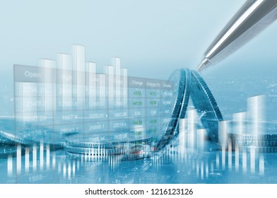 Double exposure of ciy and coins, Stock market or forex financial graph for business investment, Stock market analysis. Economy trends background. Risk management, Business and Finance concept