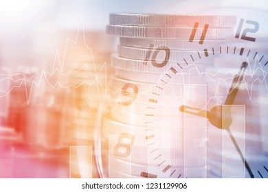 Double exposure of clock and rows of coins with copy space for finance and business concept