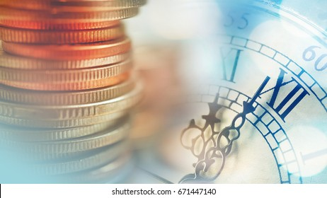 Double exposure of clock and rows of coins for time of finance and business concept