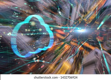 Double exposure Clouds technology concept and Aerial view city.network connection concept.communication. smart city .internet of thing. Big data
