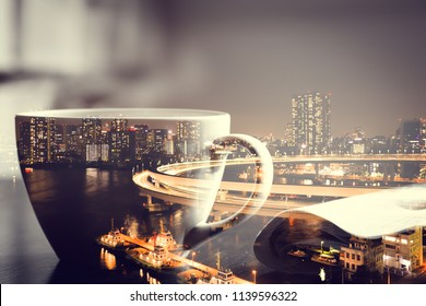 Double exposure of coffee cup and newspaper on wooden table and nightscape of harbor city.
