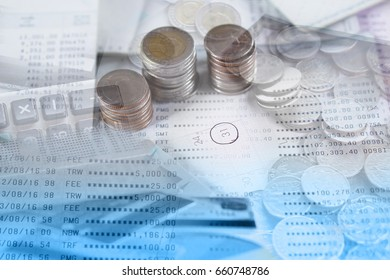 double exposure coin, saving account , credit card and calculator with calendar page, overdue payment, business and finance concept
