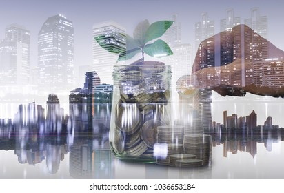 double exposure of coin staking with hand put coin for saving and green plant growing with night building in city background. financial and saving money concept.