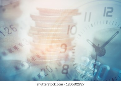 double exposure of coins and bookbank with clock and credit card, for business and finance background