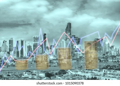 Double exposure of coins with city  background,Graph grow