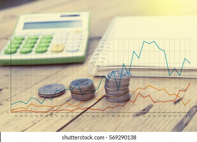 double exposure coins with note book and calculator,finance concept